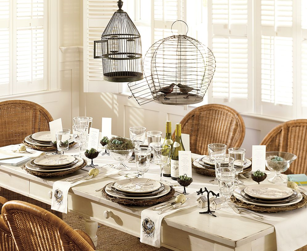A Whimsical Pottery Barn Tablescape For Spring Love The Birdcages Seemingly Floating Over Table