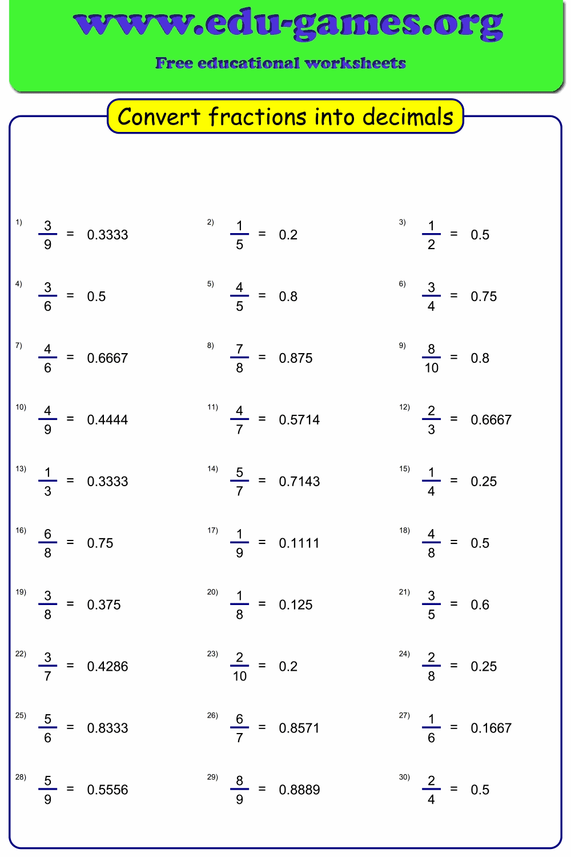 Worksheet maker to convert fractions into decimals ...