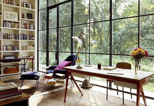 great windows! Dream \ Home Office Inspiration Pinterest - bibliotecas modernas en casa