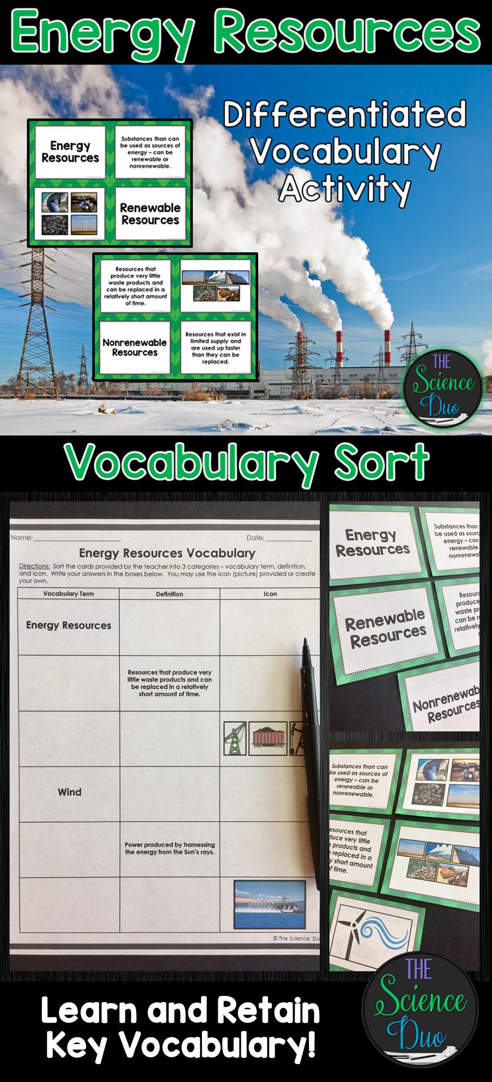 Energy Resources Vocabulary Sort Energy resources