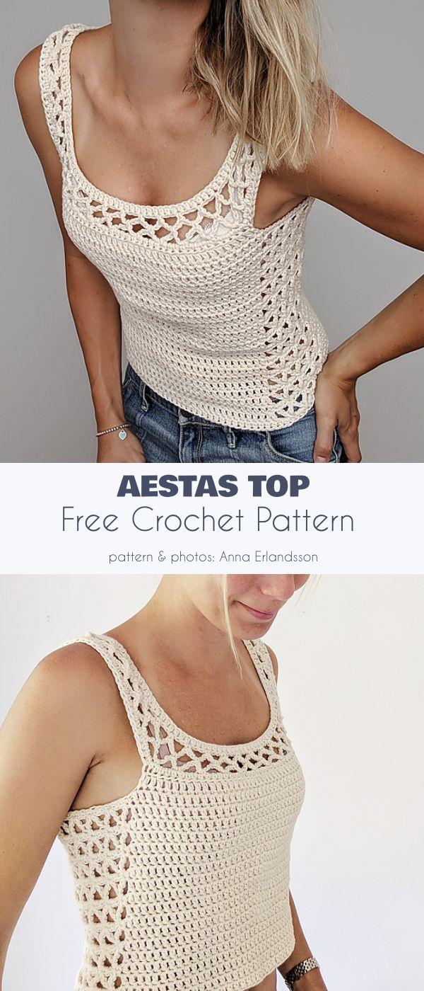 Aestas Top Free Crochet Pattern #crochetsweaterpatternwomen