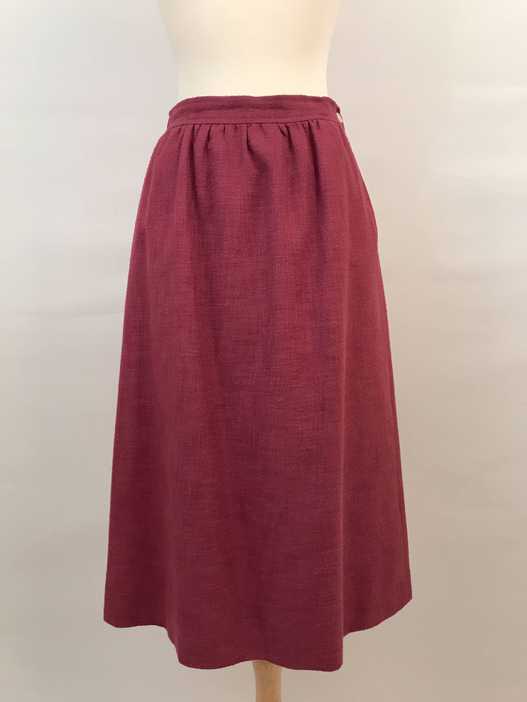 70s Magenta Midi Skirt Vintage Evan Picone Vintage Skirt 0b2a2a2b704