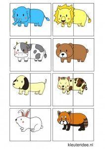 Dierenspel voor kleuters, kleuteridee.nl , animal match for preschool, free printable 2.