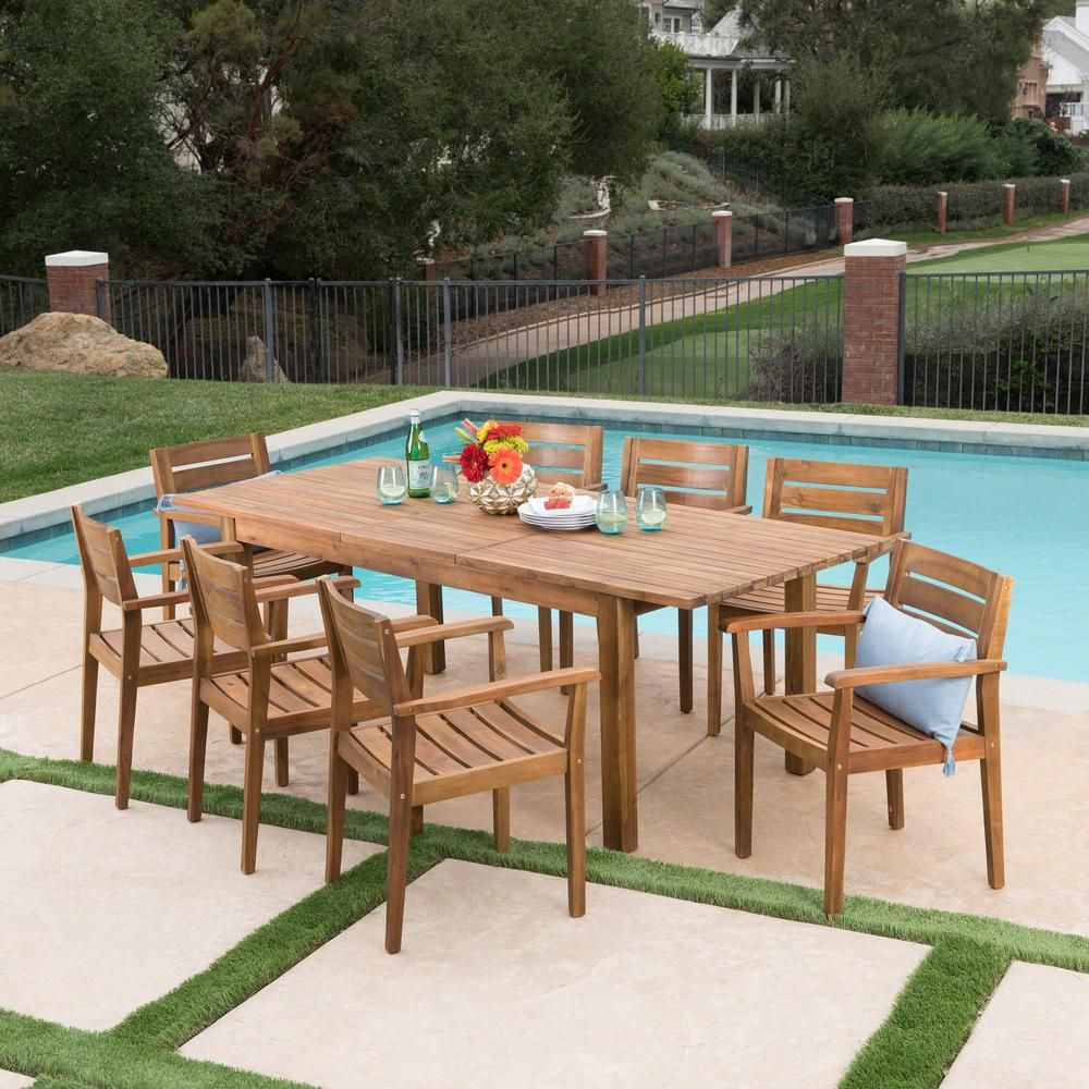 Noble House Teak Brown 9 Piece Wood Rectangular Outdoor Dining Set