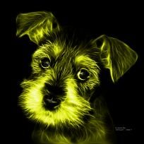 Yellow Salt and Pepper Schnauzer Puppy pop art by artist James Ahn. Schnauzers are a loyal breed. Bred as a rat catcher, yard dog, and guard dog. They have high energy and are intelligent... They make great companions... Schnauzer 7206   © Rateitart.com // All Rights Reserved.   #Yellow #ColorYellow #YellowArt #YellowPopArt #Schnauzer # SchnauzerArt # MinatureSchnauzer #DogArt #PopArt #DogArtPrints #ILoveSchnauzer #SchnauzerArtPrint
