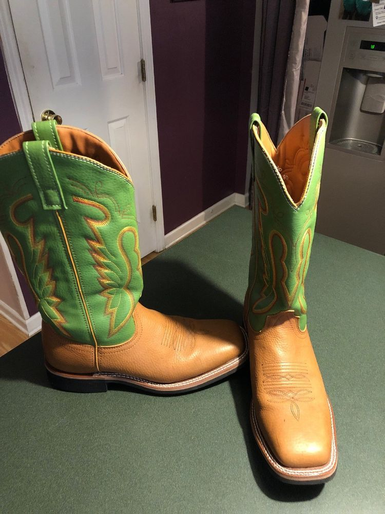c7c460ce29a Laredo Mens 9 D M Cowboy Boots 7882 Square Toe Brown Green Leather ...