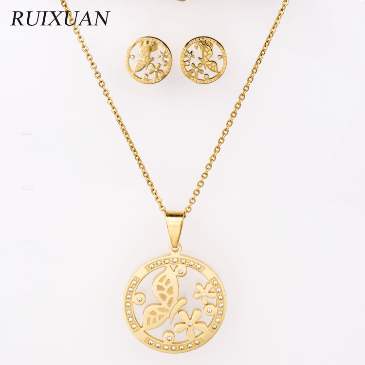 Wholesale hot sale pendant earring hollow jewelry set