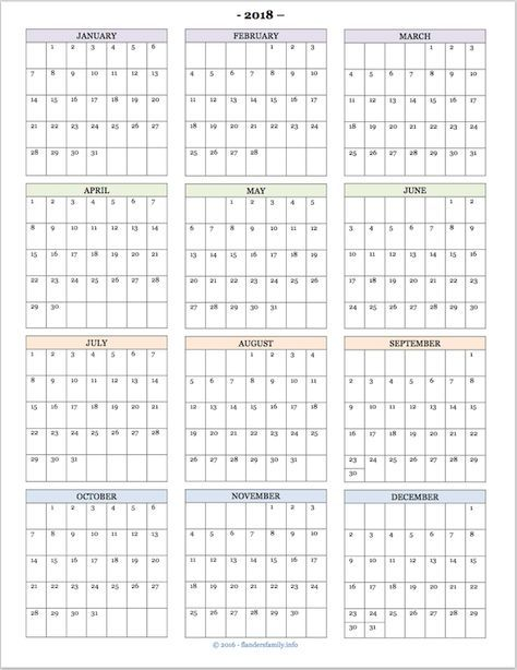 Free printable 2018 year-at-a-glance calendar Free printables