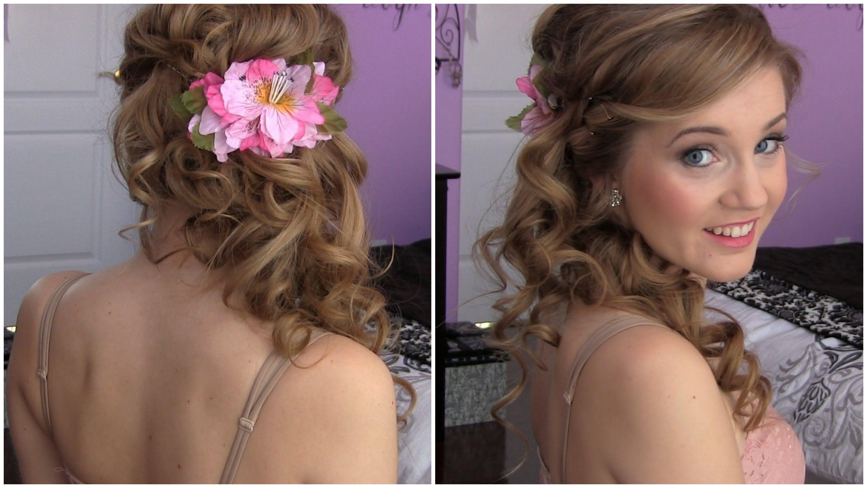 Side swept cascading curls easy diy prom hair tutorial via