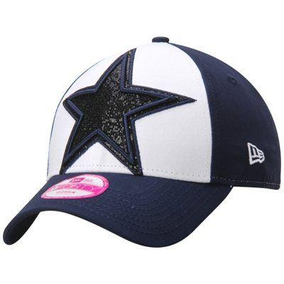 Women s Dallas Cowboys New Era Navy Glitter Glam 9FORTY Adjustable ... 061f3c909