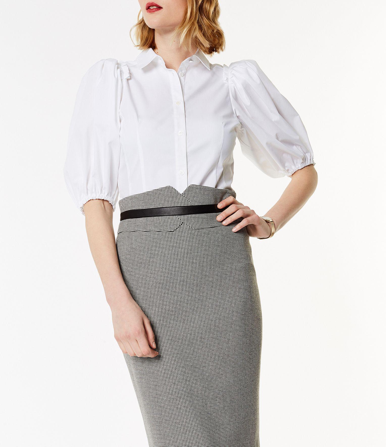 fc132ffdbb5 Karen Millen, Balloon Sleeve Shirt White | White shirts | Shirts ...