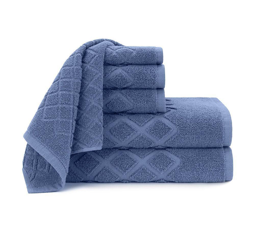 Diamond Jacquard 6 Piece Towel Set in Blue Yonder