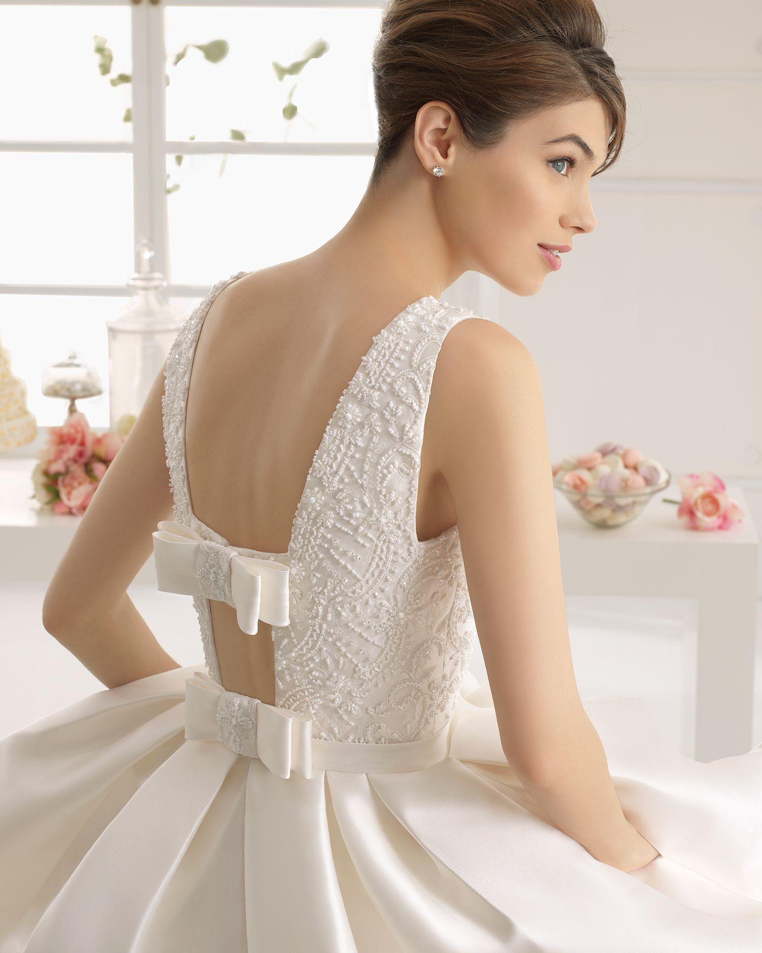 Arcilla vestido de novia tejido mikado bordado con pedreria ...