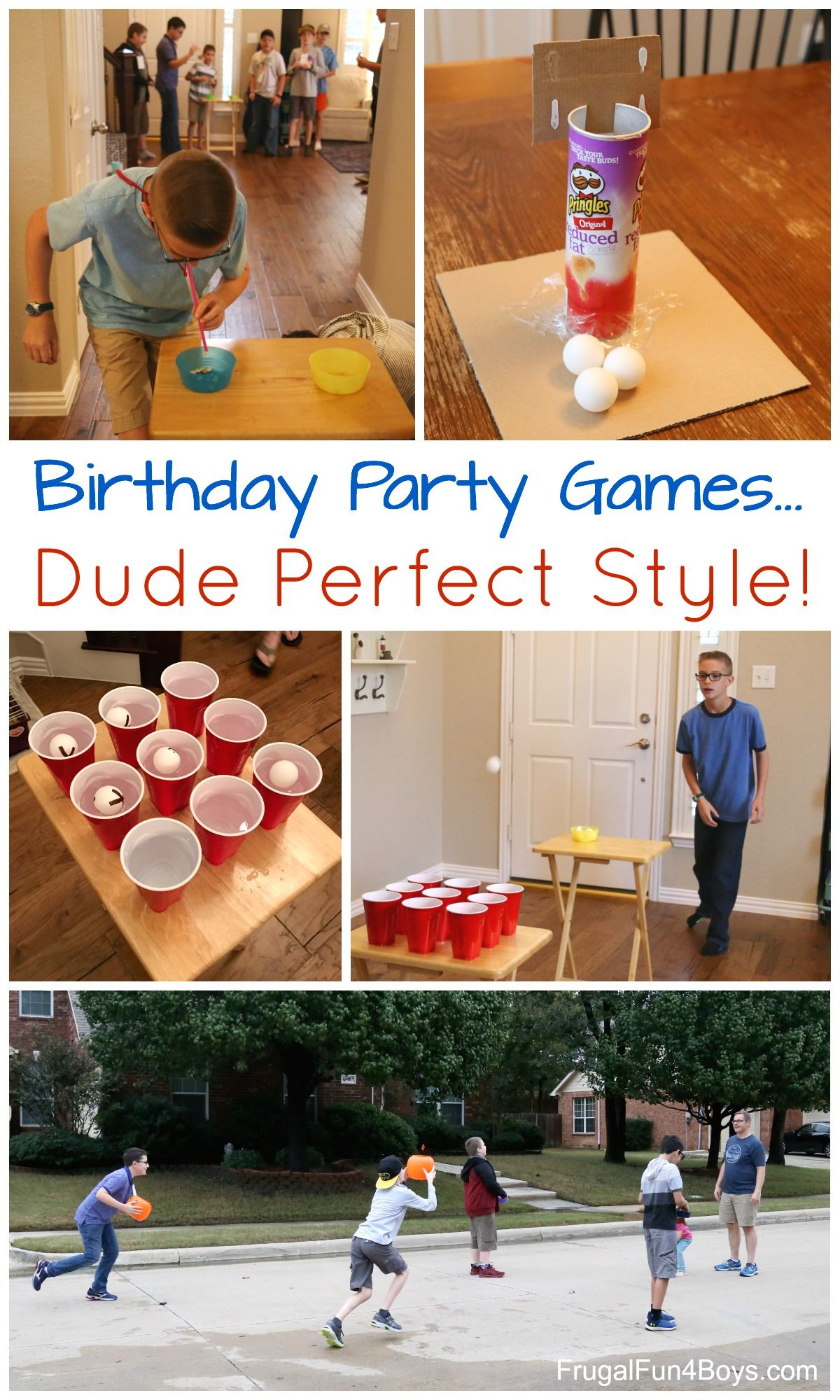 Awesome Game Ideas For A Dude Perfect Style Birthday Party Frugal Fun For Boys And Girls Boys Birthday Party Games Birthday Party Games For Kids Birthday Party Activities