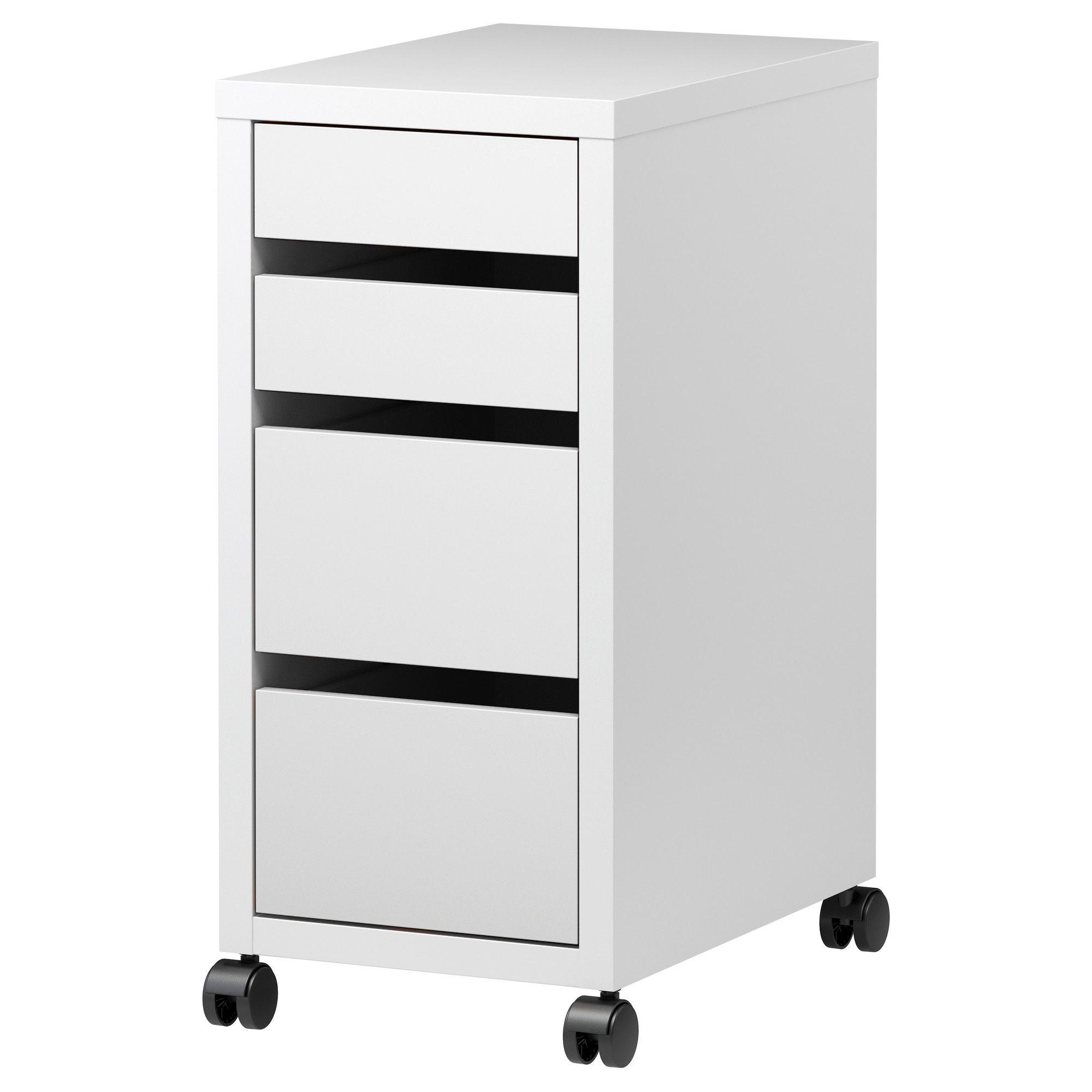 MICKE Caisson à tiroirs sur roulettes Blanc 35x75 cm ...