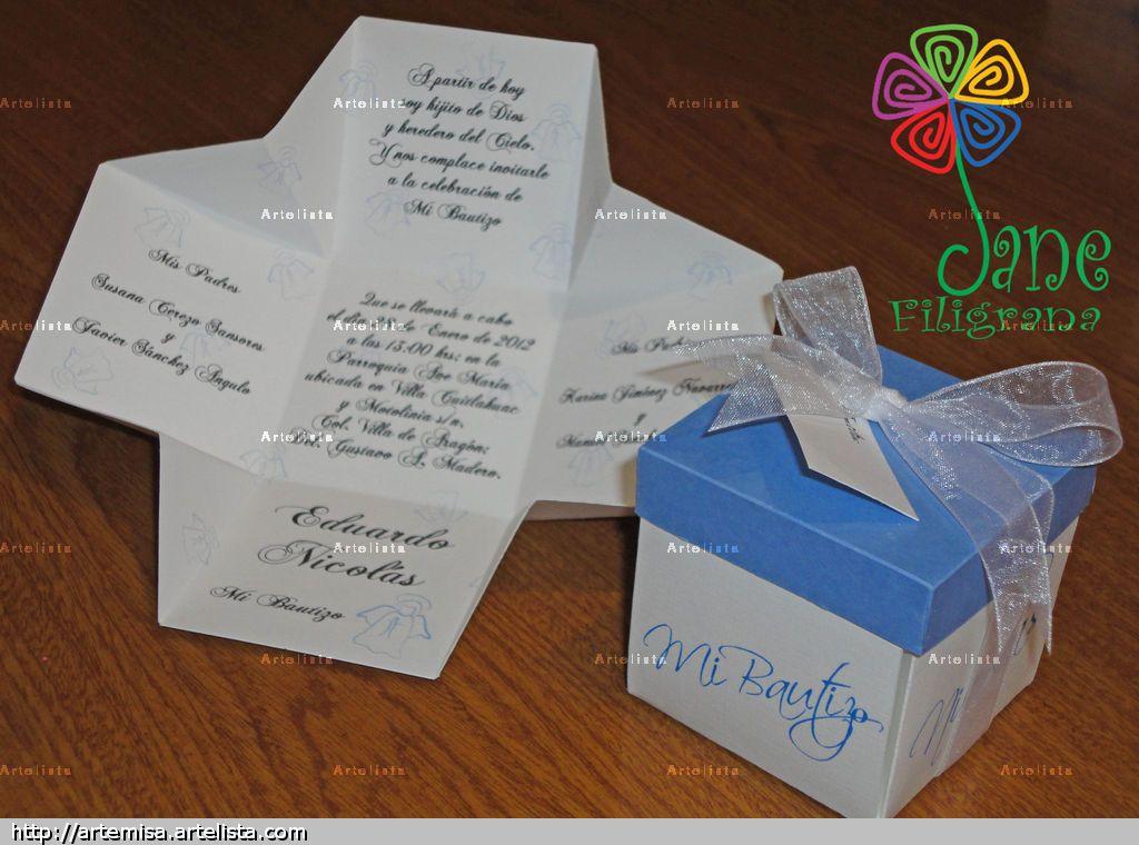 Tarjetas En Forma De Caja Para Bautizo Buscar Con Google