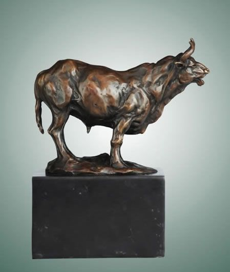 Bronze Bull Statue On Marble Base 8 Inch In 2019 Bull Statues