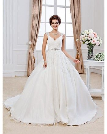 Chapel Train Sleeveless Classic Timeless Organza V-neck Straps Ball Gown LT378543