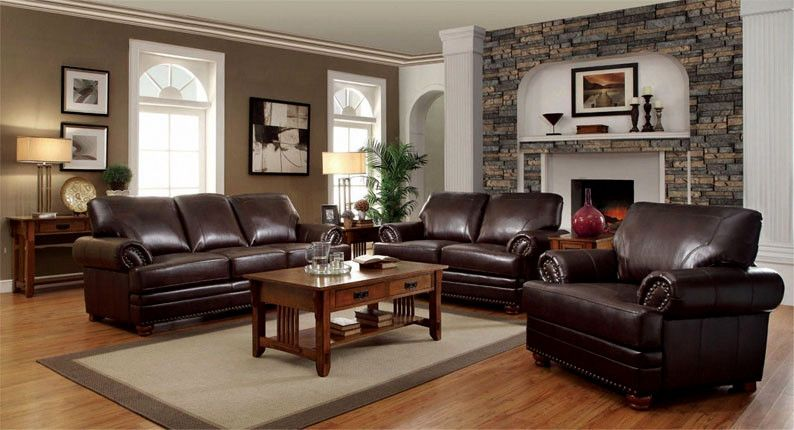 Lord Baltimore Leather Sofa Set Set Includes The Sofa Love Seat And Chair Leather Living Room Furniture Leather Living Room Set Brown Couch Living Room