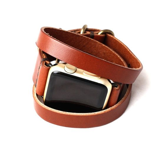 1a274e4d9d9 Triple Tour™ Full Grain Leather Apple Watch Band - Medium Brown ...