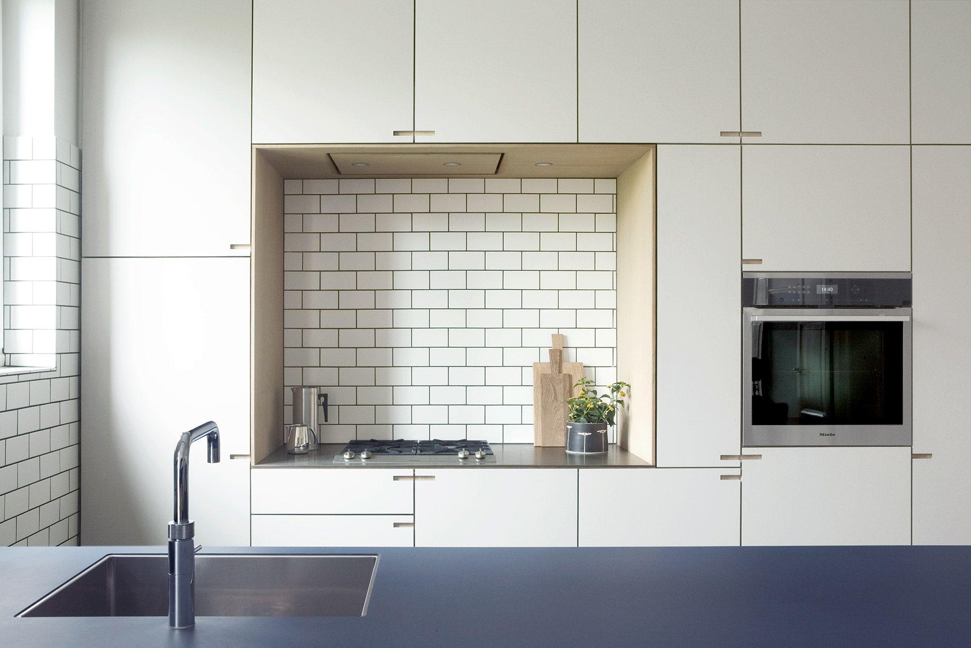 Rahbeks Alle Is A Spacious Food Workshop In Solid Oakwood And Coverings In Denim Blue Linoleum And Deser Modern Wood Kitchen Wood Kitchen Wood Kitchen Cabinets