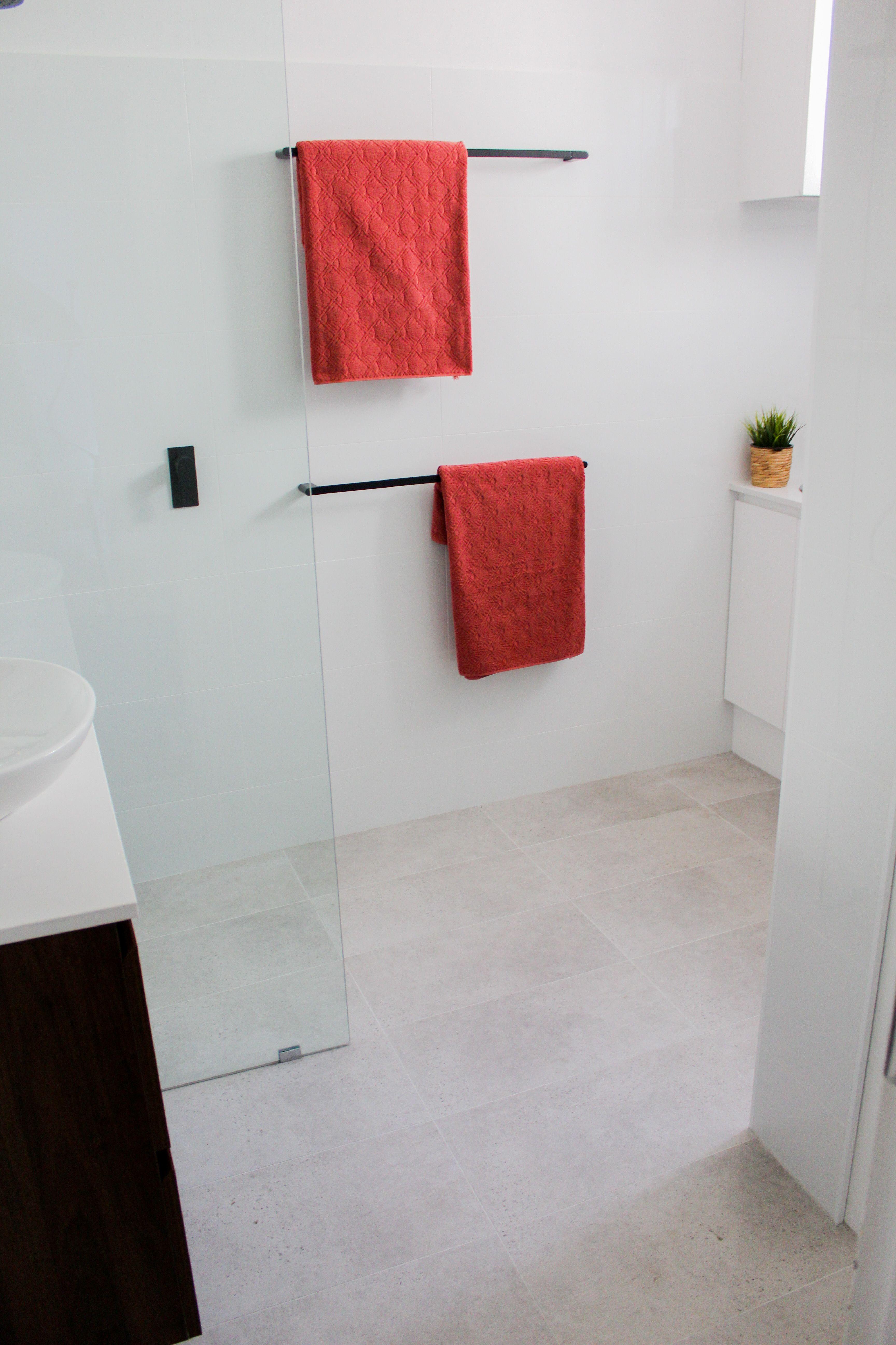 Combined Laundry Bathroom Walk In Shower Subway Feature Wall Laundry Bathroom Toilet Room Black Tapwar Bathroom Renovations Wall Hung Vanity Walk In Shower