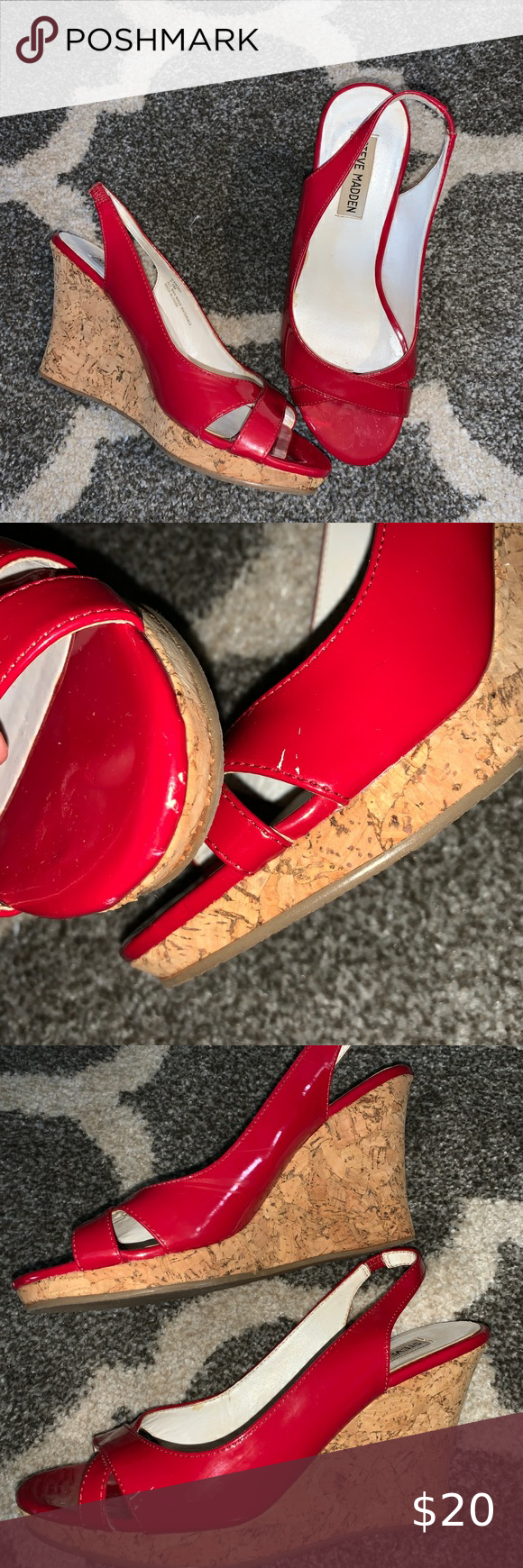 Christmas Hours 2020 Pics4 3/$25** GUC Steve Madden wedge sandals sz 7.5 in 2020 | Red wedge