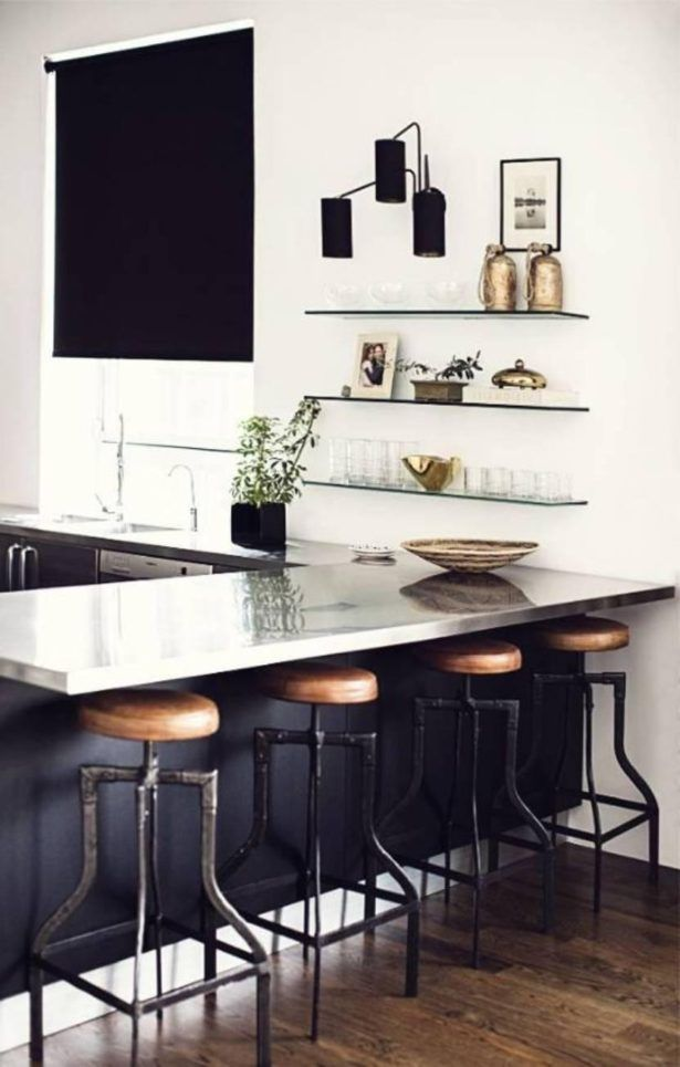 Kitchen Contemporary Blinds For The Glass Shelves On Wall As Well Wooden Floor Bar Stools Ideas Jpg Stunning for the