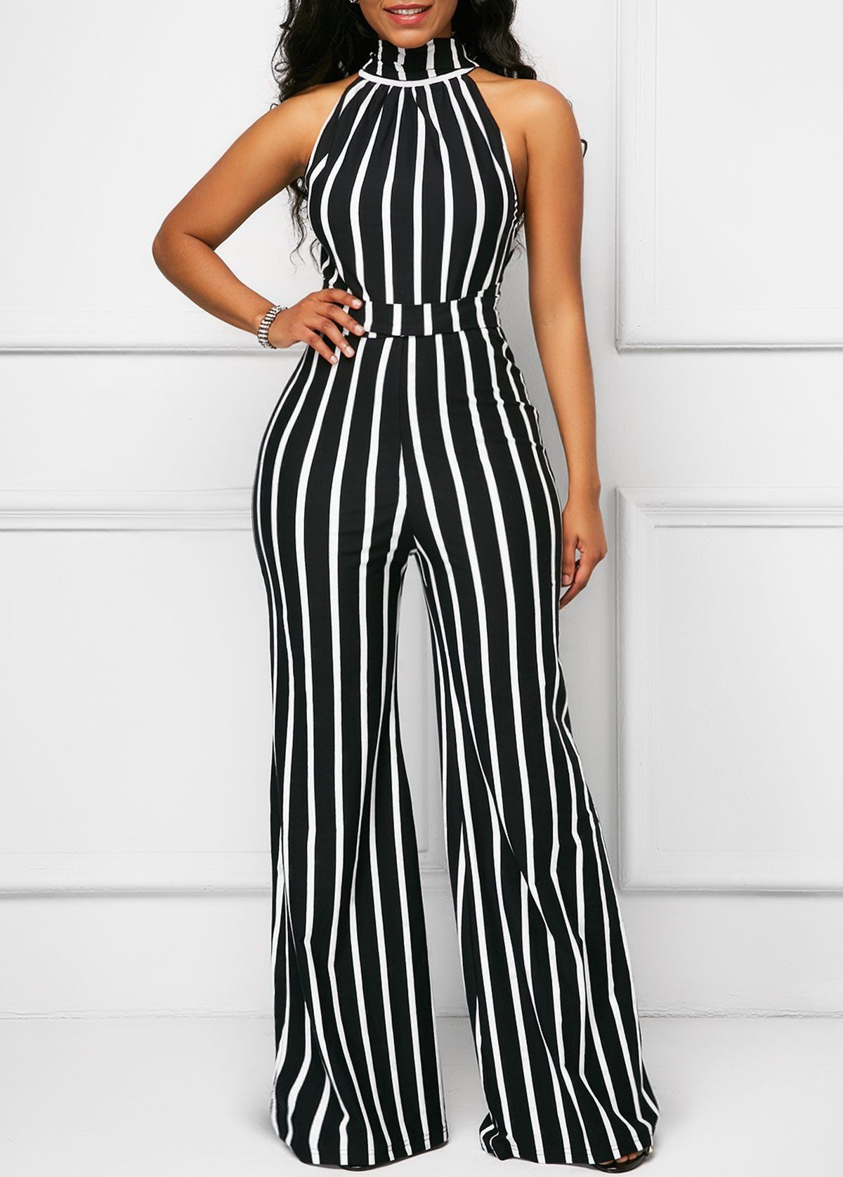 5bc53378ca3 Cutout Belted Striped Black Sleeveless Jumpsuit in 2019