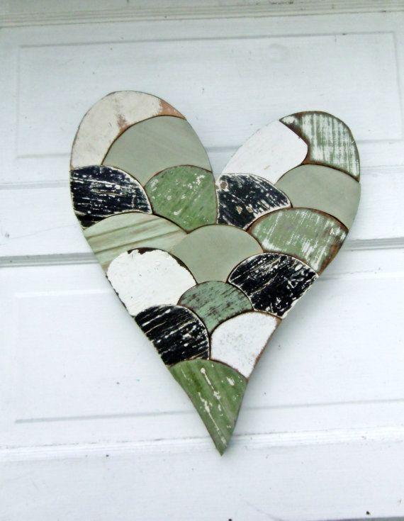 Wood Mosaic Heart Reclaimed Wood Art Green Wooden by woodenaht, $74.00