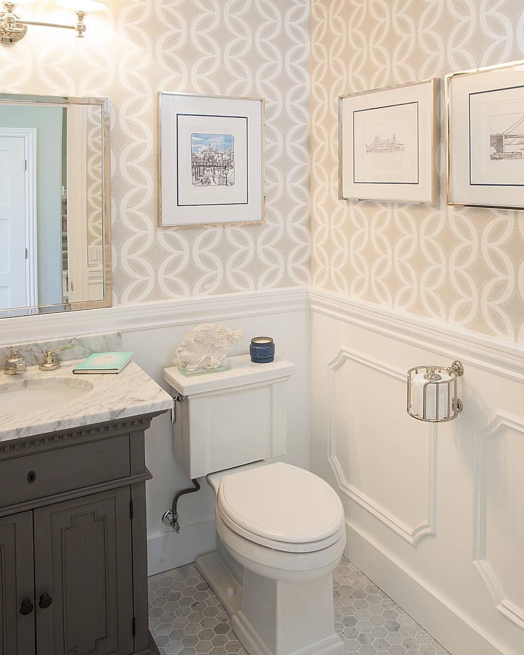 Interior Design On Instagram I Just Love How Wallpaper Can Add So Much Interest To A Simple Powder Room B Bathrooms Remodel Bathroom Makeover Bathroom Decor