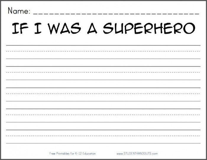 Free Superhero Creative Writing Printable With Images Writing