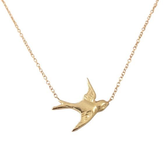 Solid 14K Gold Sparrow Charm Pendant Necklace {available in Yellow, White or…