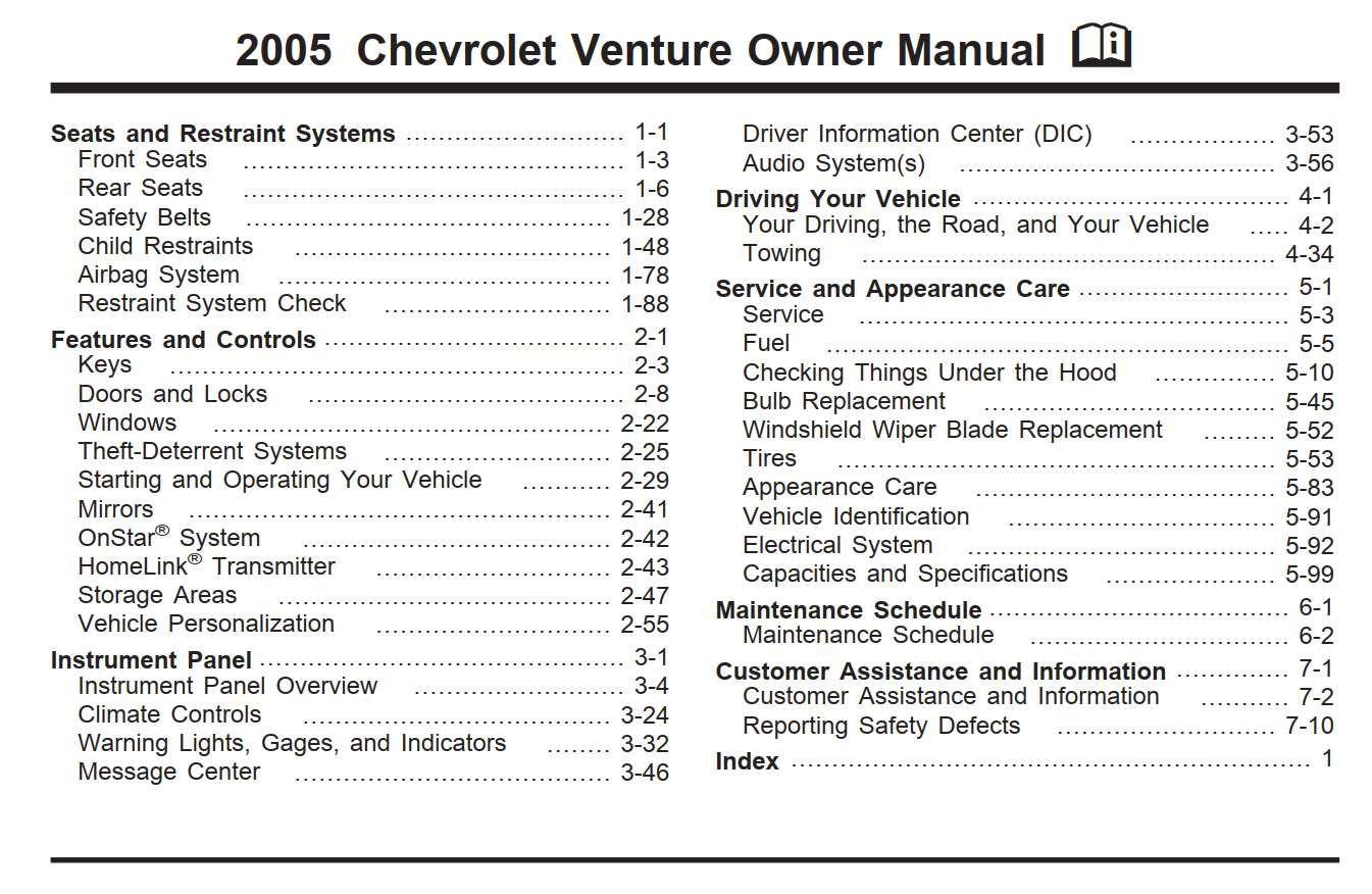 Chevrolet Venture 2005 Owner S Manual Pdf Online Download Owners Manuals Chevrolet Impala Chevrolet Aveo