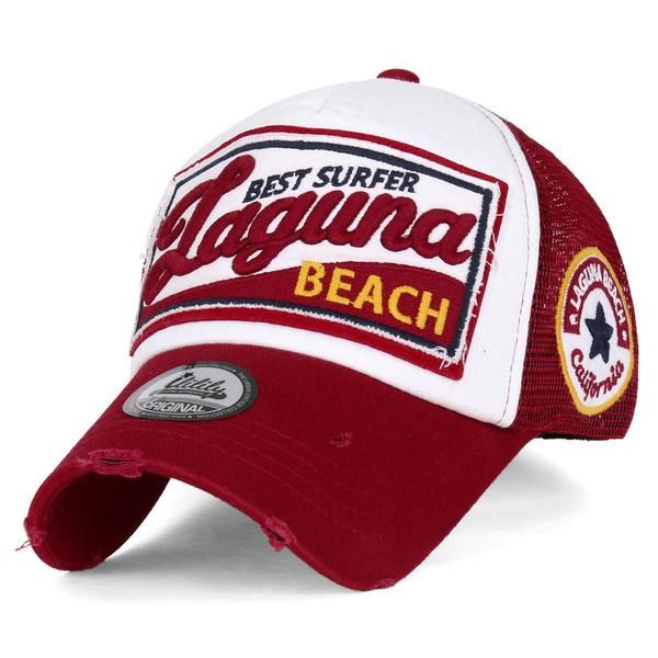 ililily LAGUNA BEACH Vintage Distressed Trucker Hat Touca 4dd89771282a4