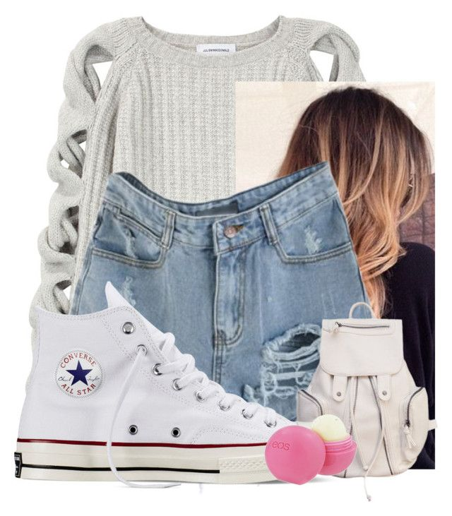 """""""Feeling Lonely"""" by brookelynrm ❤ liked on Polyvore featuring Julien Macdonald, Converse and Eos"""