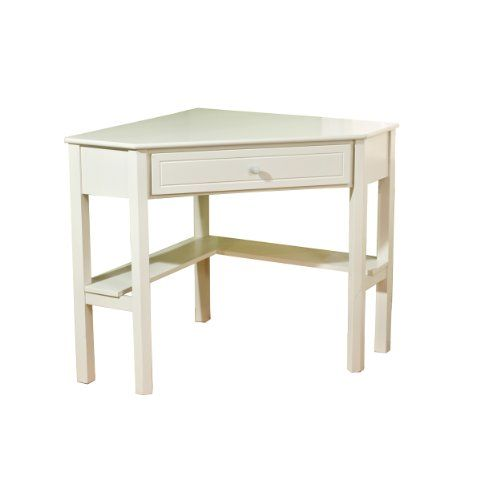 Target Marketing Systems Wood Corner Desk with One Drawer and One Storage  Shelf, Antique White Finish - Target Marketing Systems Wood Corner Desk With One Drawer And One
