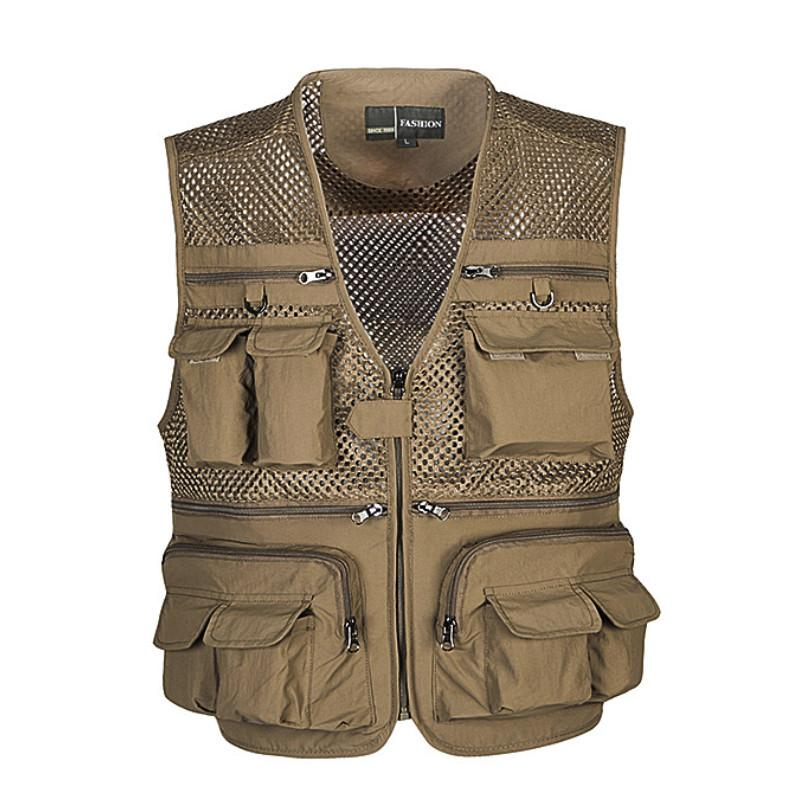 Flygo Mens Mesh Quick Dry Outdoor Work Fishing Travel Photo Vest with Multi Pockets