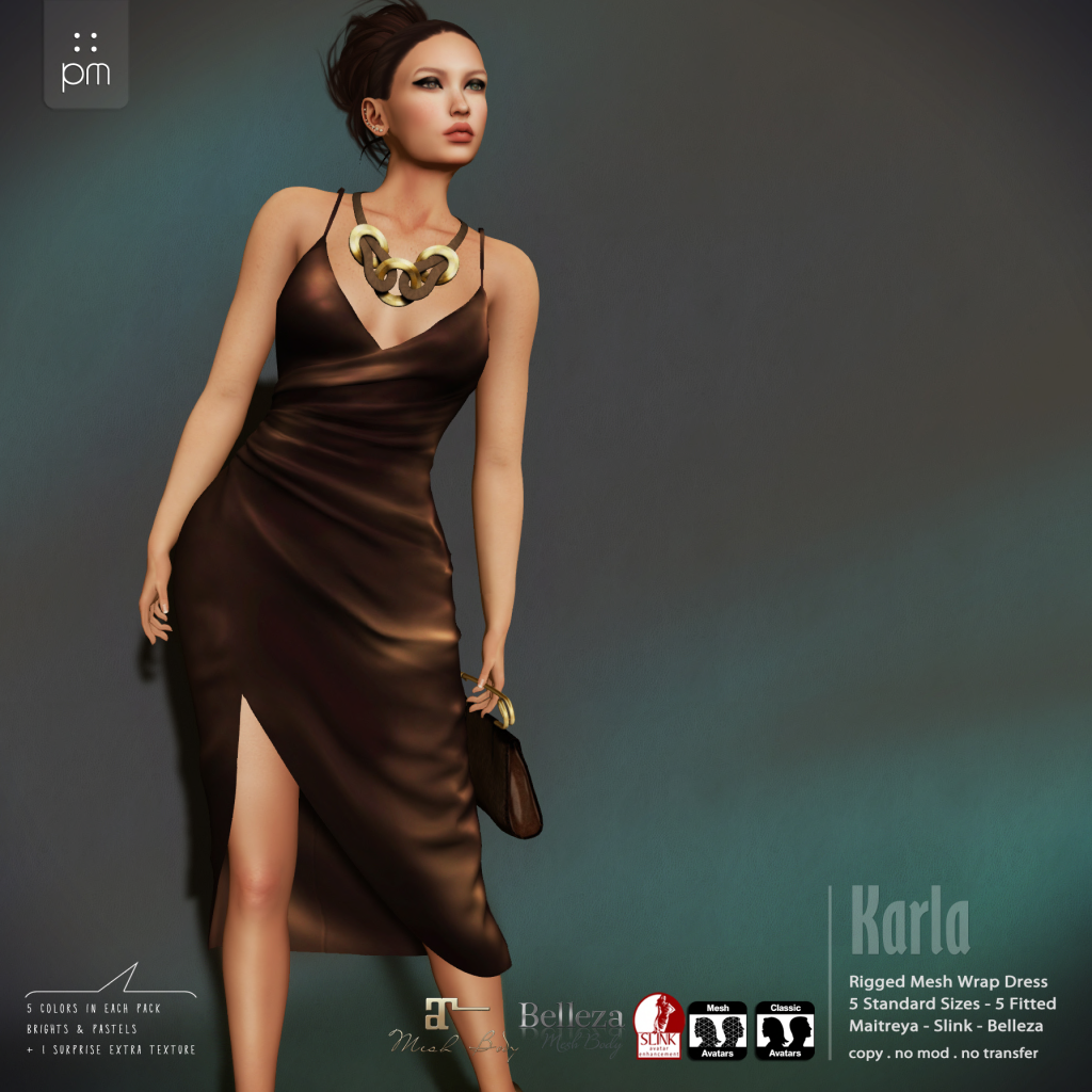 Karla Dress And Accessories Sale. If you need an elegant dress, PurpleMoon is one of the top choices in SL. The Karla dress is currently on sale and a