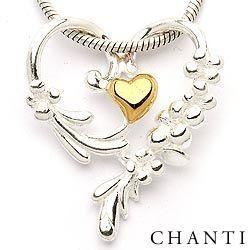 Hjerte vedhæng i sølv og forgyldt sølv