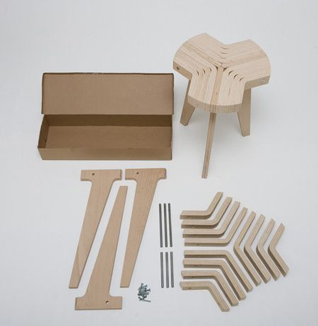 Italian Designer Giorgio Biscaro Will Present A Flat Pack Stool Made Of Bent Plywood At The Salone Satell Chair Design Wooden Flat Pack Furniture Plywood Chair