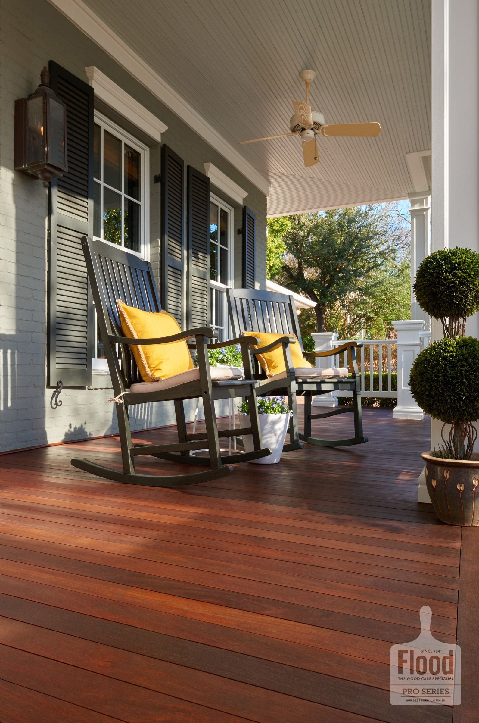 Flood Pro Series Semi Transparent Wood Stain In Rosewood Protects This Covered Patio With A Beautiful Finish Ww Wood Deck Stain Staining Deck Staining Wood