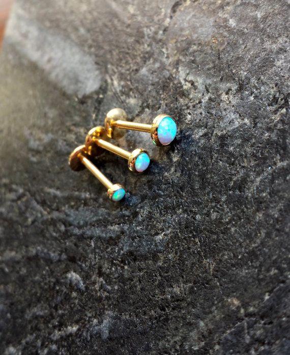 16g 1.2 mm 14kt Gold Blau/Pink Opal Platte von FeatherBlueJewelry