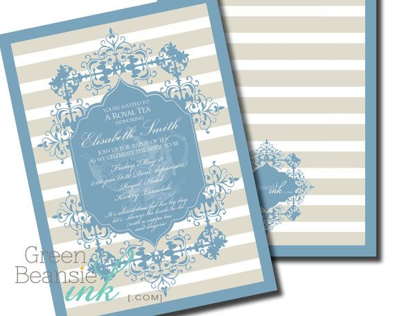 This unique, ornate invitation of blue with gray and white stripes featuring a beautiful tea pot is perfect for a bridal tea, womens luncheon,