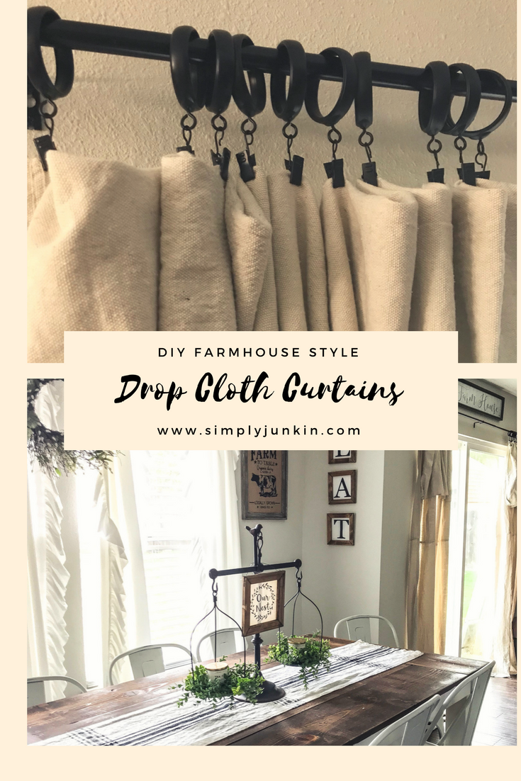 Drop cloth curtains, Farmhouse curtains, rustic curtains