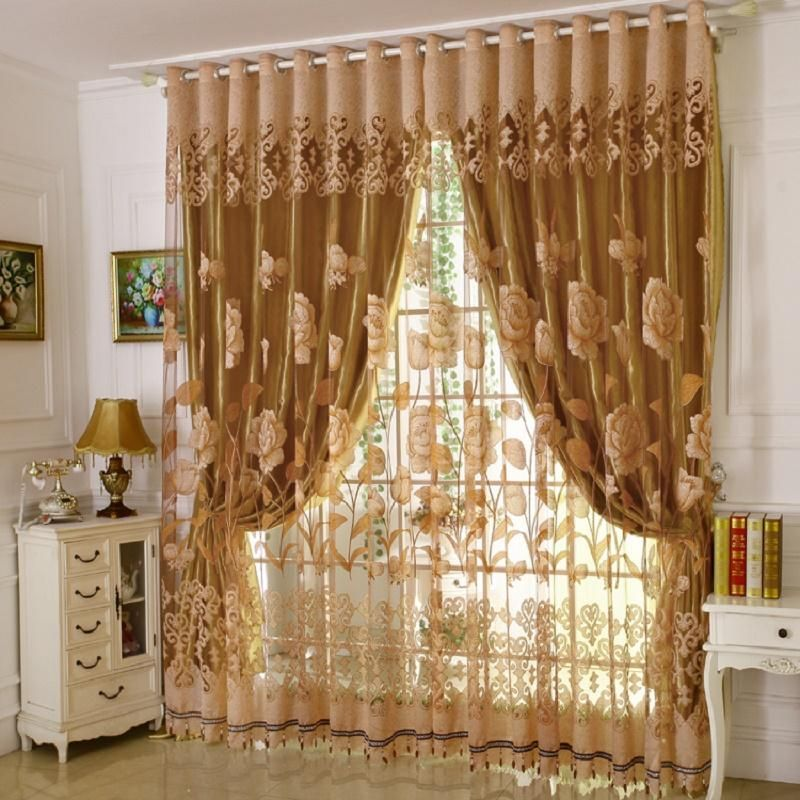 1 PC Curtain and 1 PC Tulle Luxury Burnout Window Curtains ...