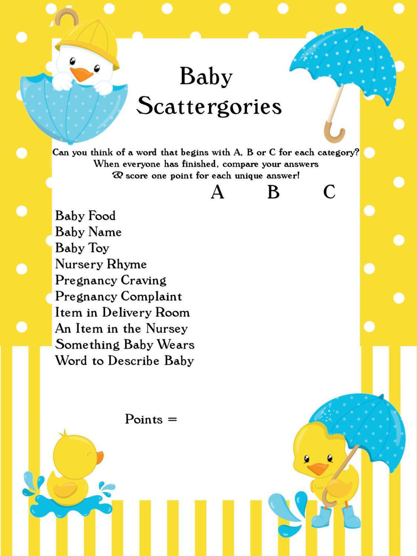 Baby Scattergories Duck Yellow Boy Girl Baby Shower Ideas