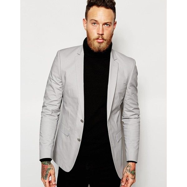 ASOS Skinny Suit Jacket In Gray Poplin (€92) ❤ liked on Polyvore featuring men's fashion, men's clothing, men's suits and grey