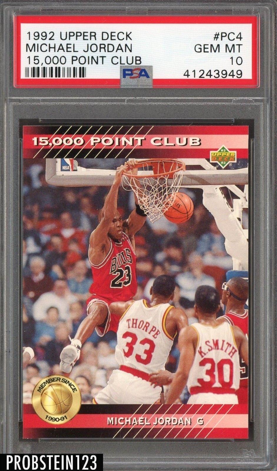 1992 upper deck 15000 point club pc4 michael jordan psa