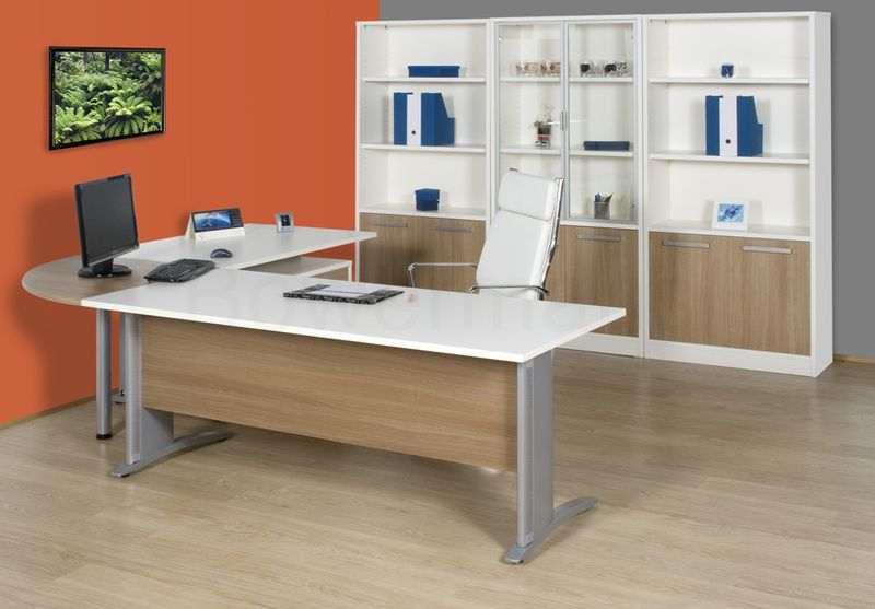 furniture orange grey color home office l shaped desk unique